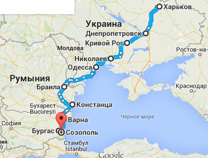 Карта маршрута автобуса