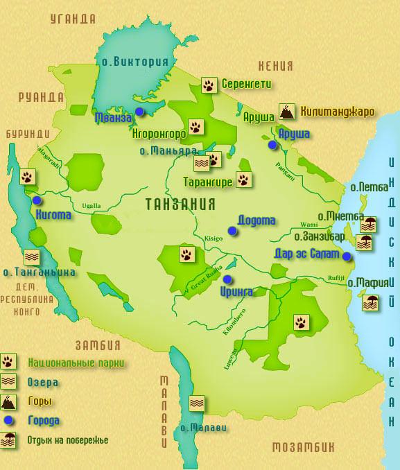 Карта Танзании