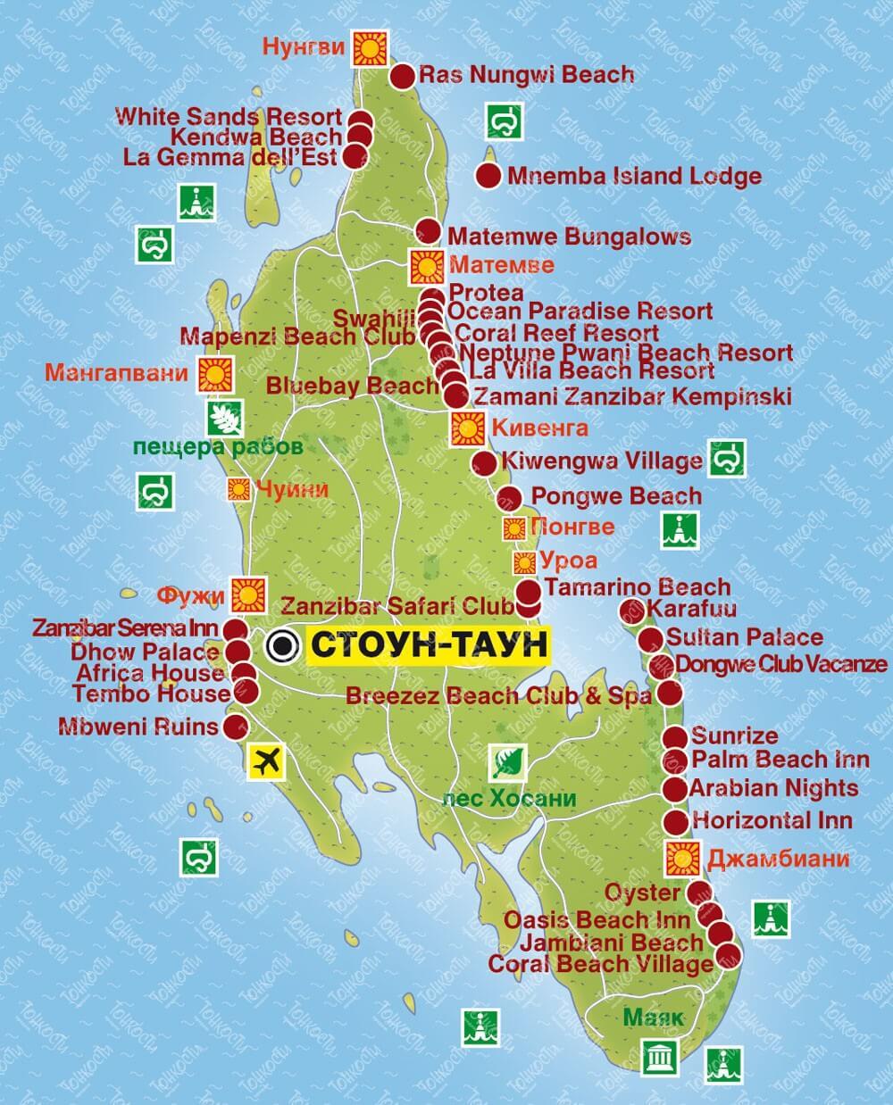 Карта отелей Занзибара
